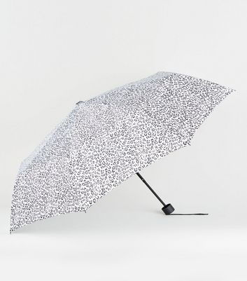 White Leopard Print Umbrella
