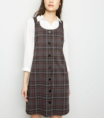Light Grey Check Button Front Pinafore Dress