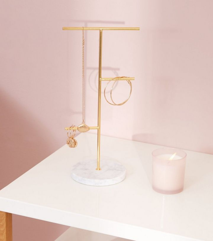 b306b768a Gold Marble Effect Base Jewellery Stand | New Look