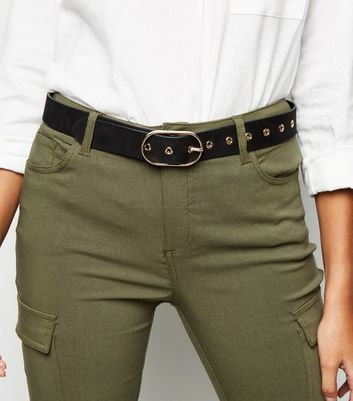 Black Thin Oval Buckle Hip Belt