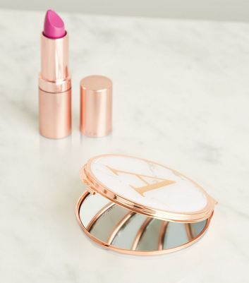 Rose Gold Marble Effect A Initial Compact Mirror