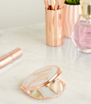 Rose Gold Marble Effect M Initial Compact Mirror