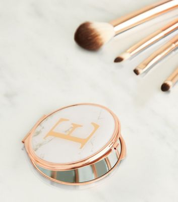 Rose Gold Marble Effect E Initial Compact Mirror