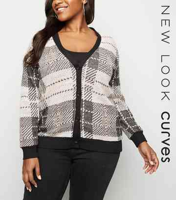 Curves Pink Check Cardigan