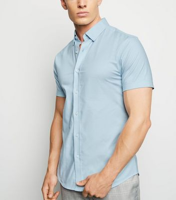 Pale Blue Short Sleeve Muscle Fit Oxford Shirt