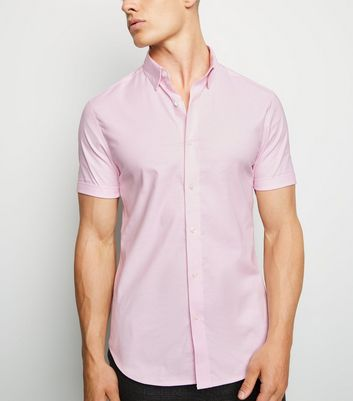 Pink Short Sleeve Muscle Fit Oxford Shirt