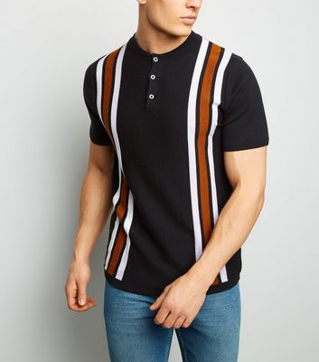 Tan Bowling Stripe Button Neck Polo Shirt