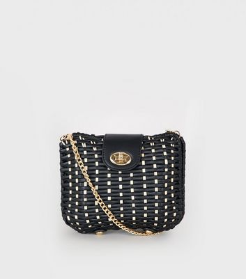 Black Woven Straw Effect Cross Body Box Bag