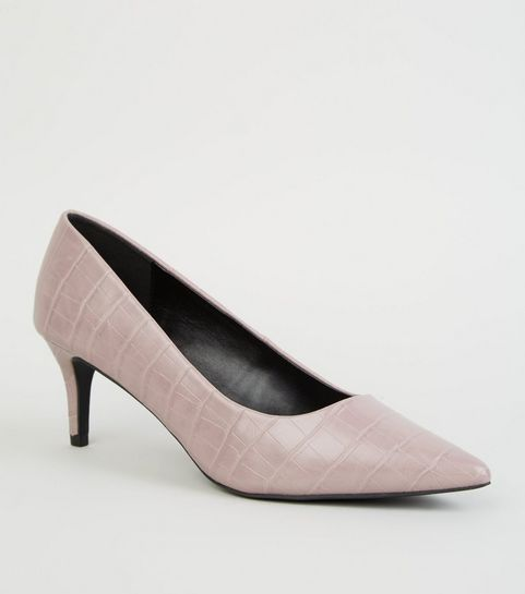 8525e7bc1d7 ... Lilac Faux Croc Kitten Heel Court Shoes ...