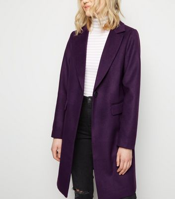 Purple Single Breasted Formal Coat