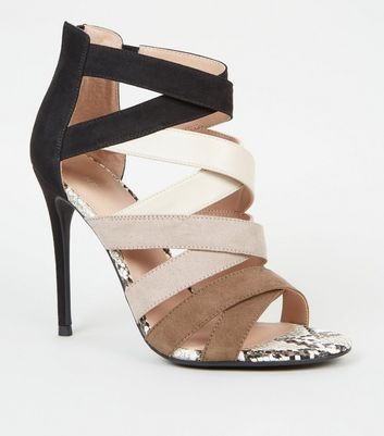 Black Colour Block Faux Snake Strappy Heels