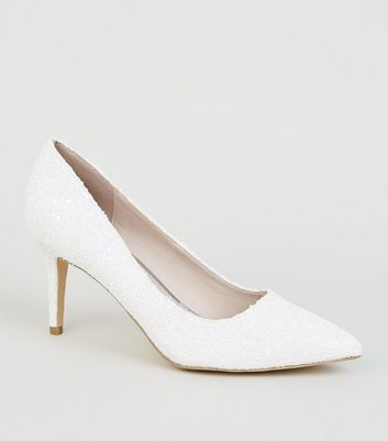 White Glitter Mid Heel Pointed Court Shoes