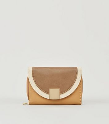 Light Brown Colour Block Small Purse