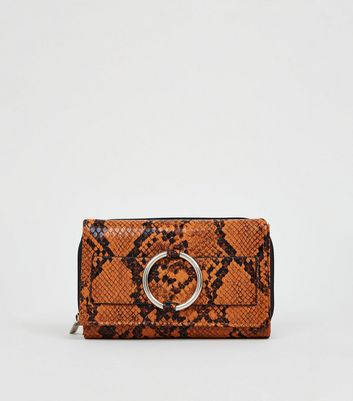 Orange Faux Snake Midi Purse