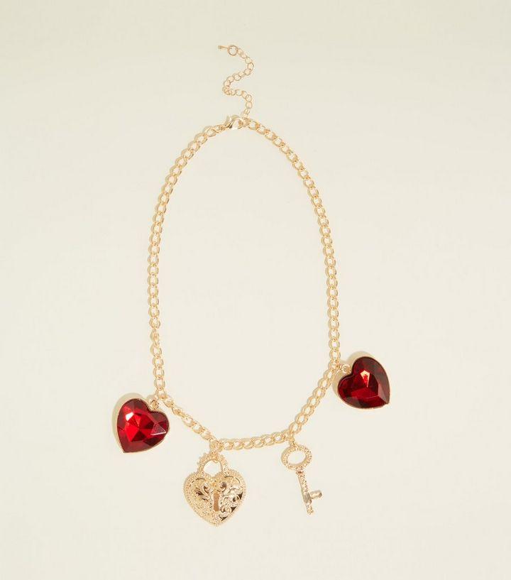 905c0b757 Dark Red Heart Gem Charm Necklace | New Look