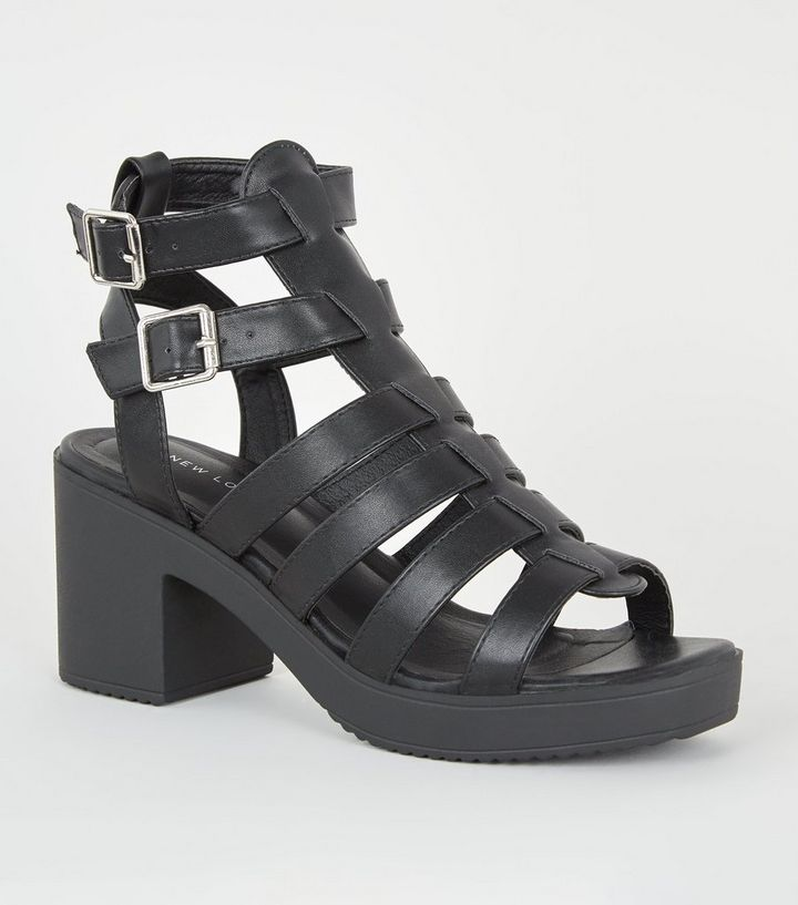 7604115d75f Black Leather-Look Chunky Gladiator Sandals