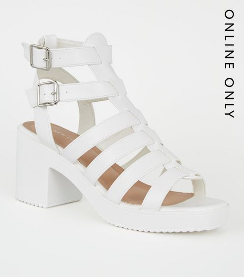 09f068e49 ... White Leather-Look Chunky Gladiator Sandals ...