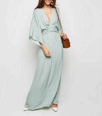 shop for Blue Vanilla Mint Green Spot Maxi Dress New Look at Shopo