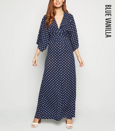 215bb1b2 ... Blue Vanilla Navy Spot Maxi Dress ...