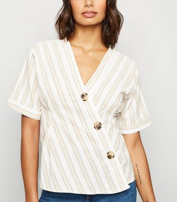 Blue Vanilla Cream Stripe Short Sleeve Asymmetric Shirt