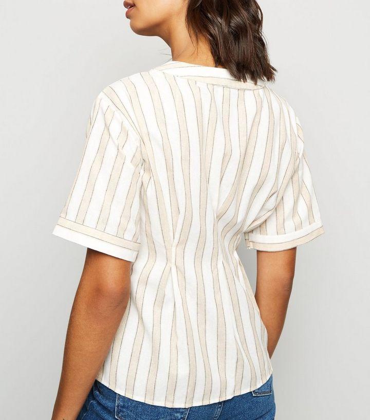9dc8b39c63e Blue Vanilla Cream Stripe Short Sleeve Asymmetric Shirt