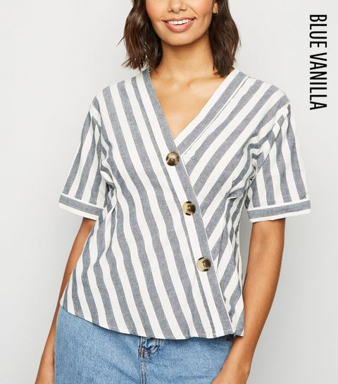 a3d973b78b2 ... Blue Vanilla Blue Stripe Short Sleeve Asymmetric Shirt ...