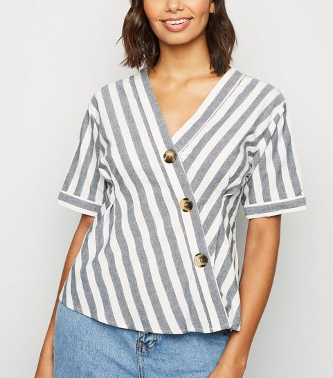 08a90f6e1d9 ... Blue Vanilla Blue Stripe Short Sleeve Asymmetric Shirt ...
