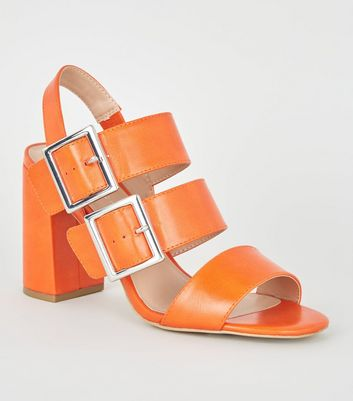 Orange Double Buckle Block Heels