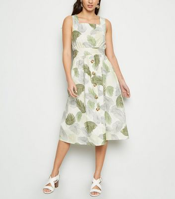 Blue Vanilla Green Leaf Button Front Midi Dress