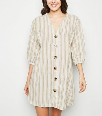 Blue Vanilla Cream Stripe Button Up Shirt Dress