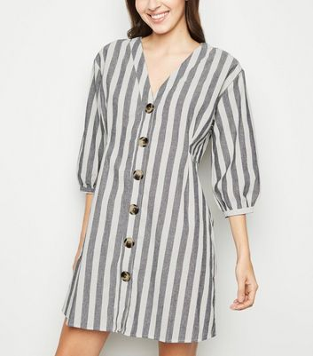 Blue Vanilla Blue Stripe Button Up Shirt Dress