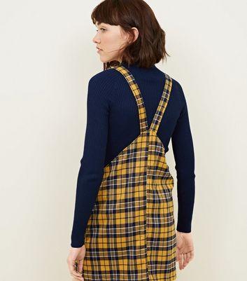shop for Cameo Rose Mustard Check Pinafore Dress New Look at Shopo