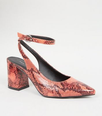 Orange Faux Snake Slingback Block Heels