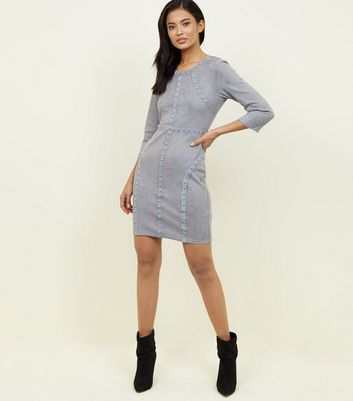 Cameo Rose Pale Grey Studded Suedette Dress