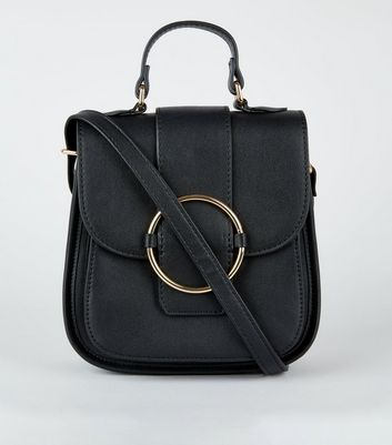 Black Ring Front Shoulder Bag