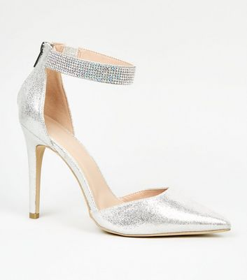 Silver Glitter Diamanté Trim Heel Court Shoes