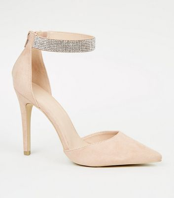 Nude Suedette Pointed Stiletto Court Shoes