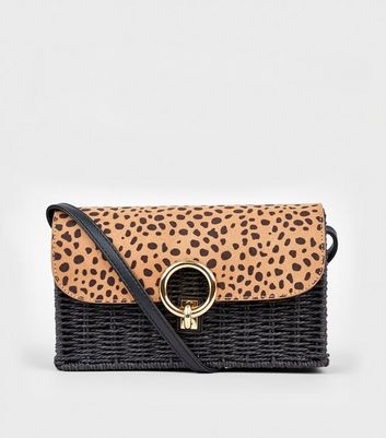 Brown Animal Print Woven Straw Effect Shoulder Bag