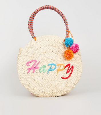 Stone Woven Straw Effect Happy Slogan Shoulder Bag