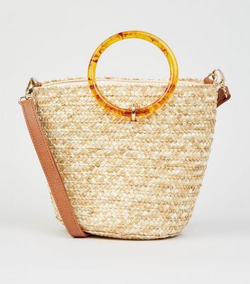 Stone Woven Straw Effect Bucket Bag