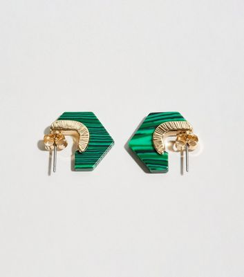 Green Resin Stripe Hexagon Mini Hoop Earrings