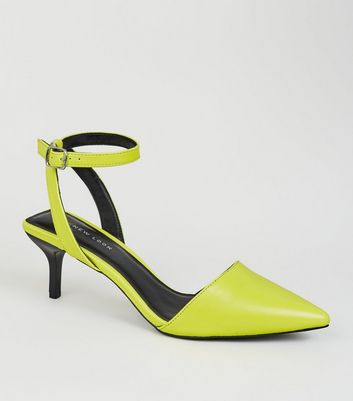Yellow Neon Square Back Kitten Heel Courts