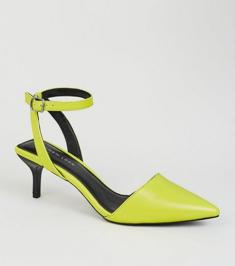 ... Yellow Neon Square Back Kitten Heel Courts ... 4bfb012d6a9e