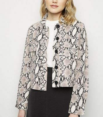 Black Snake Print Linen Look Trucker Jacket