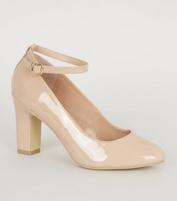 Nude Patent Block Heel Court Shoes