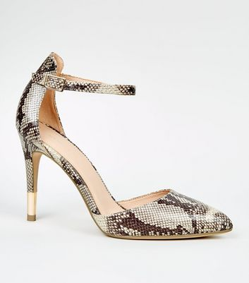 Stone Faux Snake Ankle Strap Stiletto Courts
