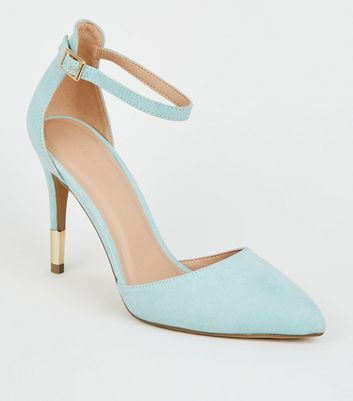 Mint Green Suedette Ankle Strap Stiletto Courts
