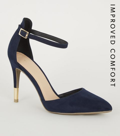 3f96cad38f84 ... Navy Suedette Ankle Strap Stiletto Courts ...