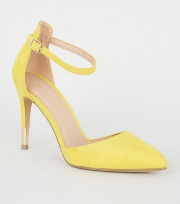 Yellow Suedette Ankle Strap Stiletto Courts