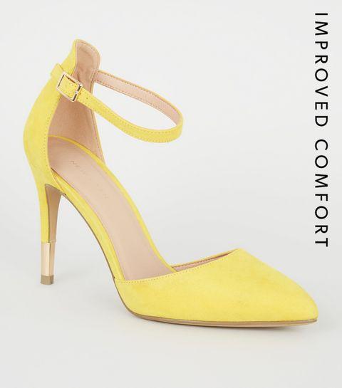 fb2b8a8ca7b ... Yellow Suedette Ankle Strap Stiletto Courts ...
